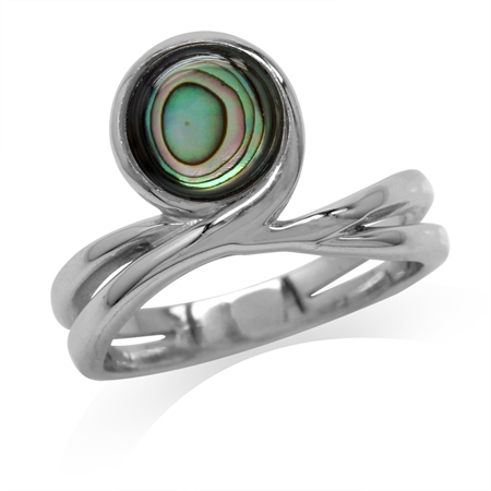 Abalone/Paua Shell White Gold Plated 925 Sterling Silver Ribbon Ring