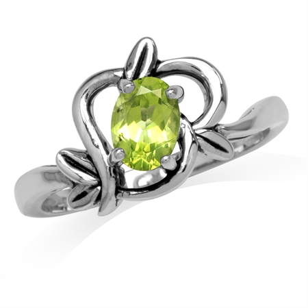 Natural Oval Shape Peridot 925 Sterling Silver Leaf Vintage Inspired Ring
