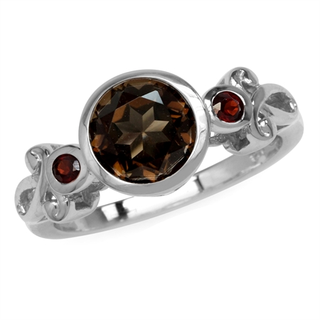 1.77ct. 8MM Natural Round Smoky Quartz & Garnet White Gold Plated 925 Sterling Silver Swirl Ring