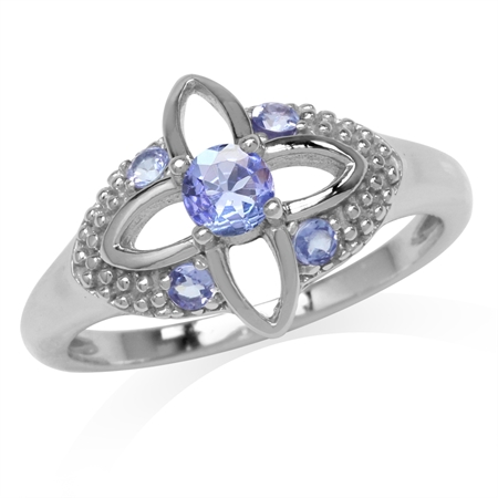 Genuine Tanzanite White Gold Plated 925 Sterling Silver Flower Ring