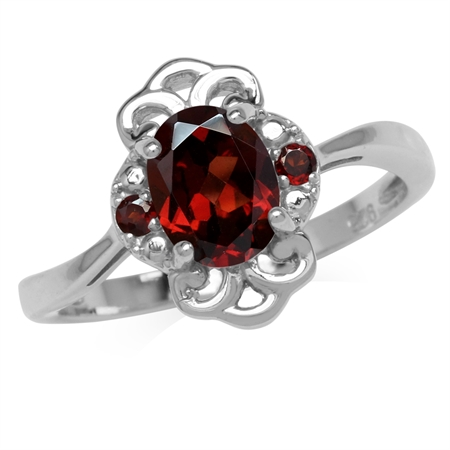 1.65ct. Natural Garnet White Gold Plated 925 Sterling Silver Filigree Ring