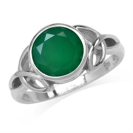 2.44ct. 9MM Natural Round Shape Emerald Green Agate 925 Sterling Silver Triquetra Celtic Knot Ring