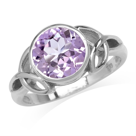 2.54ct. 9MM Natural Round Shape Amethyst 925 Sterling Silver Triquetra Celtic Knot Ring