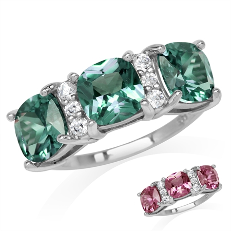3-Stone Cushion Shape Simulated Color Change Alexandrite White Gold Plated 925 Sterling Silver Ring