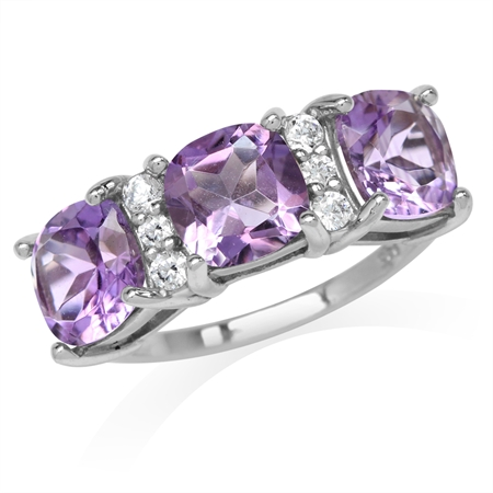 4.08ct. 3-Stone Natural Cushion Shape Amethyst White Gold Plated 925 Sterling Silver Ring