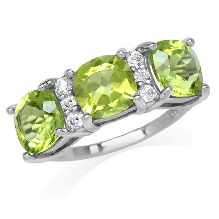 4.89ct. 3-Stone Natural Cushion Shape Peridot White Gold Plated 925 Sterling Silver Ring