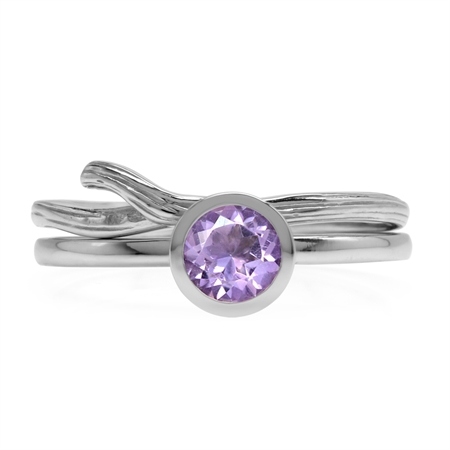Set of 2 Natural Amethyst White Gold Plated 925 Sterling Silver Bezel Set & Textured Band Ring