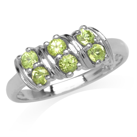 Natural Peridot Double Row White Gold Plated 925 Sterling Silver Ring