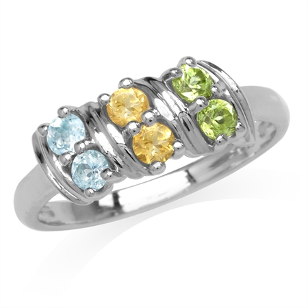 Natural Peridot, Citrine & Blue Topaz Double Row White Gold Plated 925 Sterling Silver Ring
