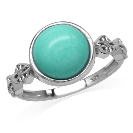 Created Green Turquoise White Gold Plated 925 Sterling Silver Flower Celtic Knot Ring