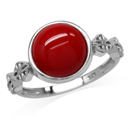Created Red Coral White Gold Plated 925 Sterling Silver Flower Celtic Knot Ring