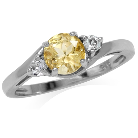 Natural Citrine & White Topaz Gold Plated 925 Sterling Silver Engagement Ring