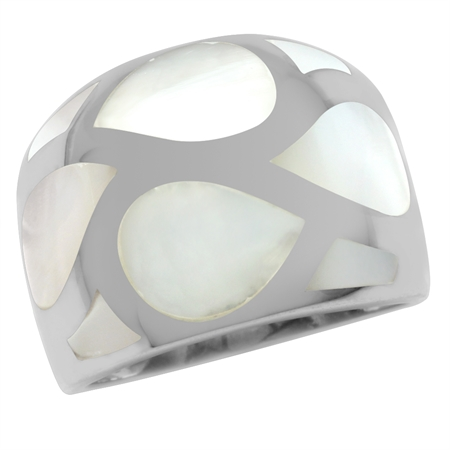 Mother Of Pearl White Gold Plated 925 Sterling Silver Dome Ring