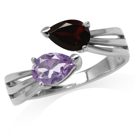 Natural Pear Shape Garnet & Amethyst White Gold Plated 925 Sterling Silver Bypass Ring