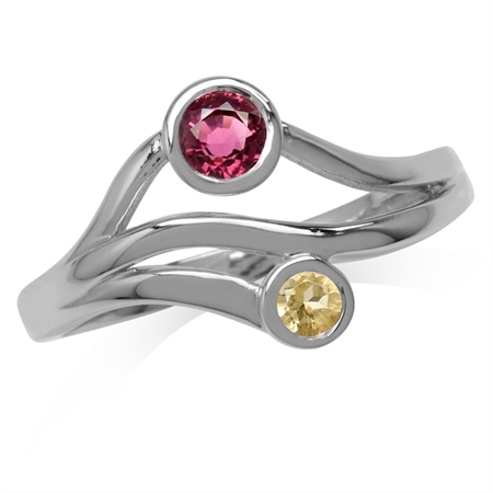 Natural Pink Tourmaline & Citrine White Gold Plated 925 Sterling Silver 3-Line Modern Ring