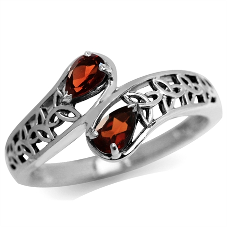 Natural Garnet 925 Sterling Silver Filigree Triquetra Celtic Knot Bypass Ring
