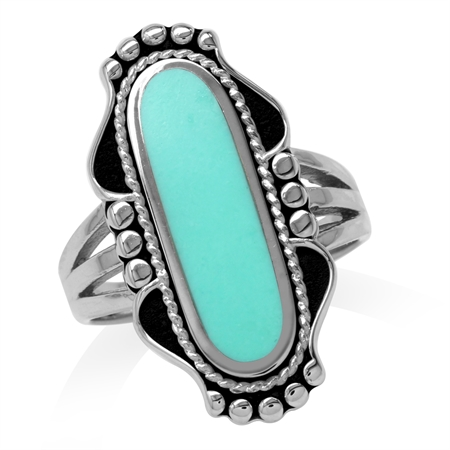 Long Created Green Turquoise Inlay 925 Sterling Silver Baroque Inspired Ring