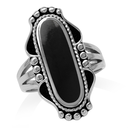 Long Created Black Onyx Inlay 925 Sterling Silver Baroque Inspired Ring