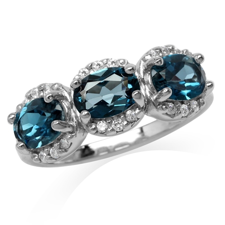 2.85ct. 3-Stone Genuine Oval Shape London Blue Topaz White Gold Plated 925 Sterling Silver Ring