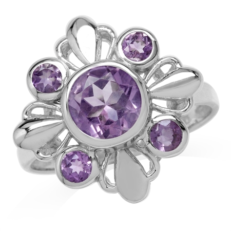 1.81ct. Natural Round Shape Amethyst White Gold Plated 925 Sterling Silver Flower Ring