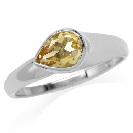 1.01ct. Natural Pear Shape Citrine White Gold Plated 925 Sterling Silver Modern Style Ring