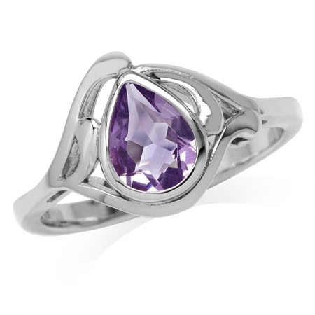 1.07ct. Genuine Pear Shape Amethyst White Gold Plated 925 Sterling Silver Solitaire Ring