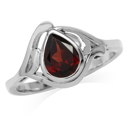 1.51ct. Natural Pear Shape Garnet White Gold Plated 925 Sterling Silver Solitaire Ring