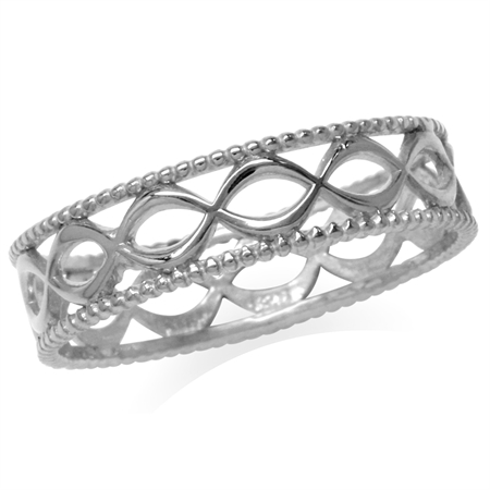 White Gold Plated 925 Sterling Silver Filigree Eternity Band Stack/Stackable Ring