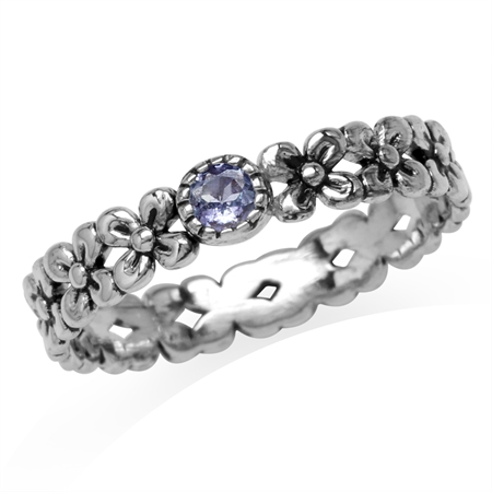 Petite Genuine Tanzanite 925 Sterling Silver Flower Stack/Stackable Eternity Ring