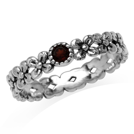 Petite Natural Garnet 925 Sterling Silver Flower Stack/Stackable Eternity Ring