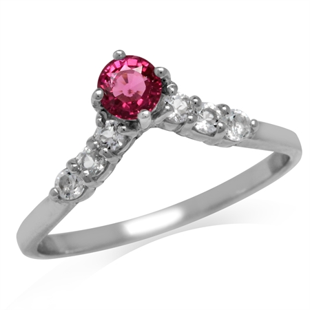 Natural Pink Tourmaline & White Topaz Gold Plated 925 Sterling Silver V-Shape Ring