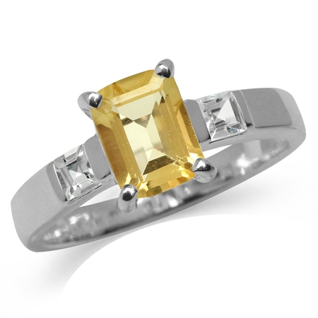 Natural Citrine & White Topaz 925 Sterling Silver Engagement Ring