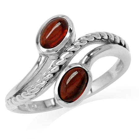 Oval Shape Cabochon Garnet 925 Sterling Silver Rope Bypass Ring