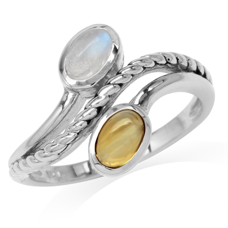 Natural Oval Shape Moonstone & Cabochon Citrine 925 Sterling Silver Rope Bypass Ring
