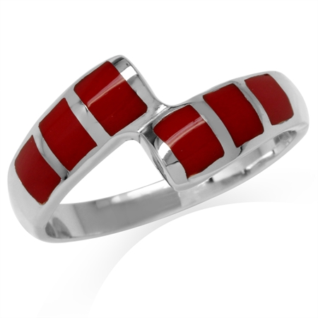 Created Red Coral Inlay White Gold Plated 925 Sterling Silver Bypass Casual Ring