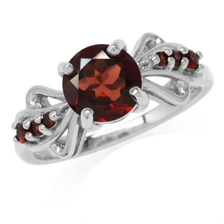 2.34ct. Natural Garnet White Gold Plated 925 Sterling Silver Fashion Ring