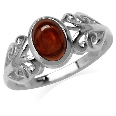 Cabochon Garnet White Gold Plated 925 Sterling Silver Filigree Swirl Ring