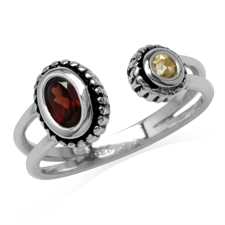 Natural Garnet & Citrine 925 Sterling Silver Bali/Balinese Style Open Front Ring
