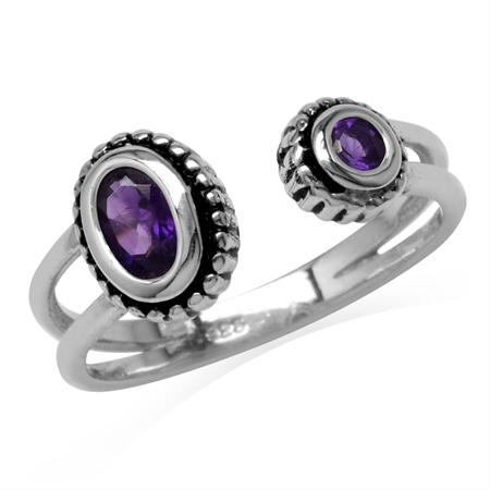 Natural African Amethyst 925 Sterling Silver Bali/Balinese Style Open Front Ring