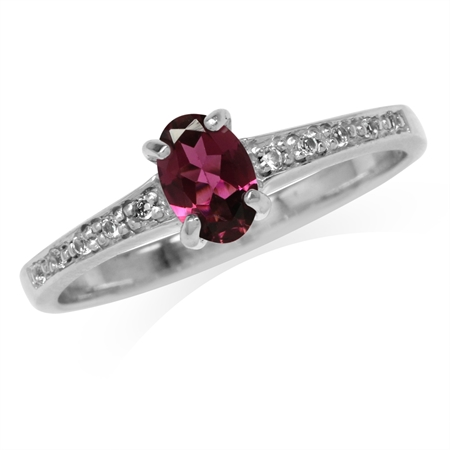Natural Pink Tourmaline & White Topaz Gold Plated 925 Sterling Silver Engagement Ring