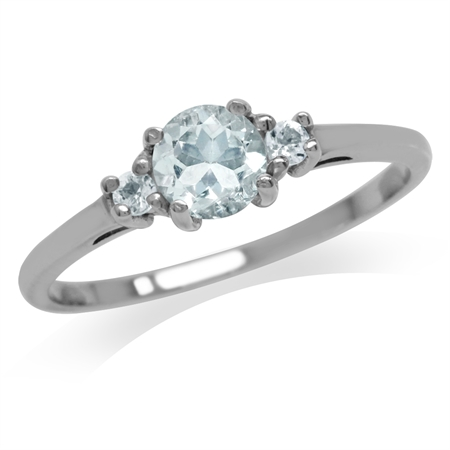 Petite Genuine Blue Aquamarine White Gold Plated 925 Sterling Silver Ring