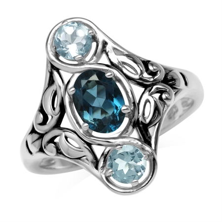 Genuine London Blue Topaz 925 Sterling Silver Filigree Ring