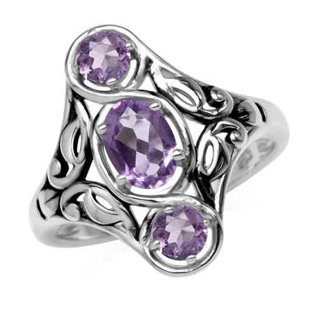 1.24ct. 3-Stone Natural Amethyst 925 Sterling Silver Filigree Ring