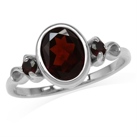 2.22ct. 9x7MM Natural Oval Shape Garnet White Gold Plated 925 Sterling Silver Ring
