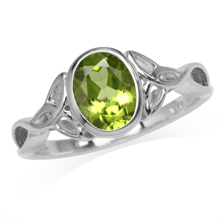 1.44ct. 8x6MM Natural Oval Shape Peridot 925 Sterling Silver Triquetra Celtic Knot Ring