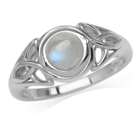 6MM Natural Round Shape Moonstone White Gold Plated 925 Sterling Silver Triquetra Celtic Knot Ring