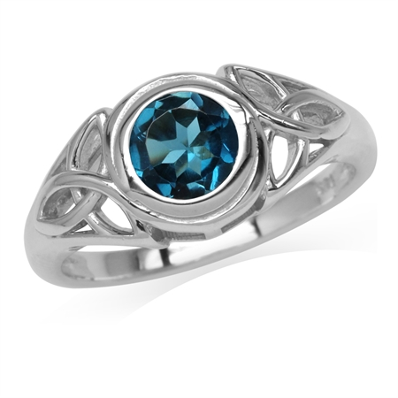 1.05ct. 6MM Genuine Round Shape London Blue Topaz 925 Sterling Silver Triquetra Celtic Knot Ring