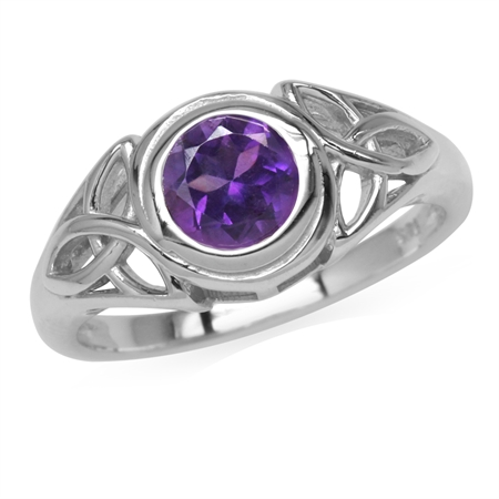 6MM Natural Round Shape African Amethyst 925 Sterling Silver Triquetra Celtic Knot Ring