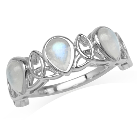 3-Stone Natural Pear Shape Moonstone 925 Sterling Silver Triquetra Celtic Knot Ring
