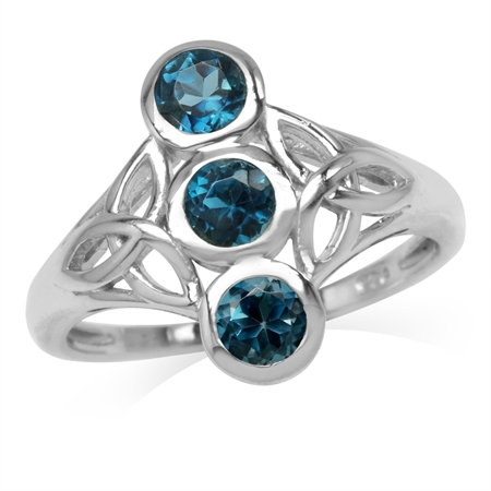 1.02ct. 3-Stone 4MM Genuine Round London Blue Topaz 925 Sterling Silver Triquetra Celtic Knot Ring